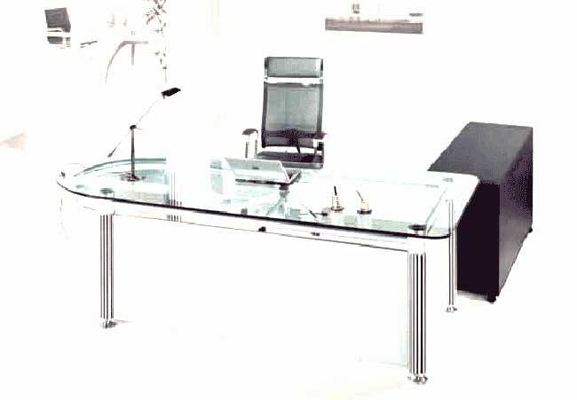 elegant transparent clear glass office computer desk