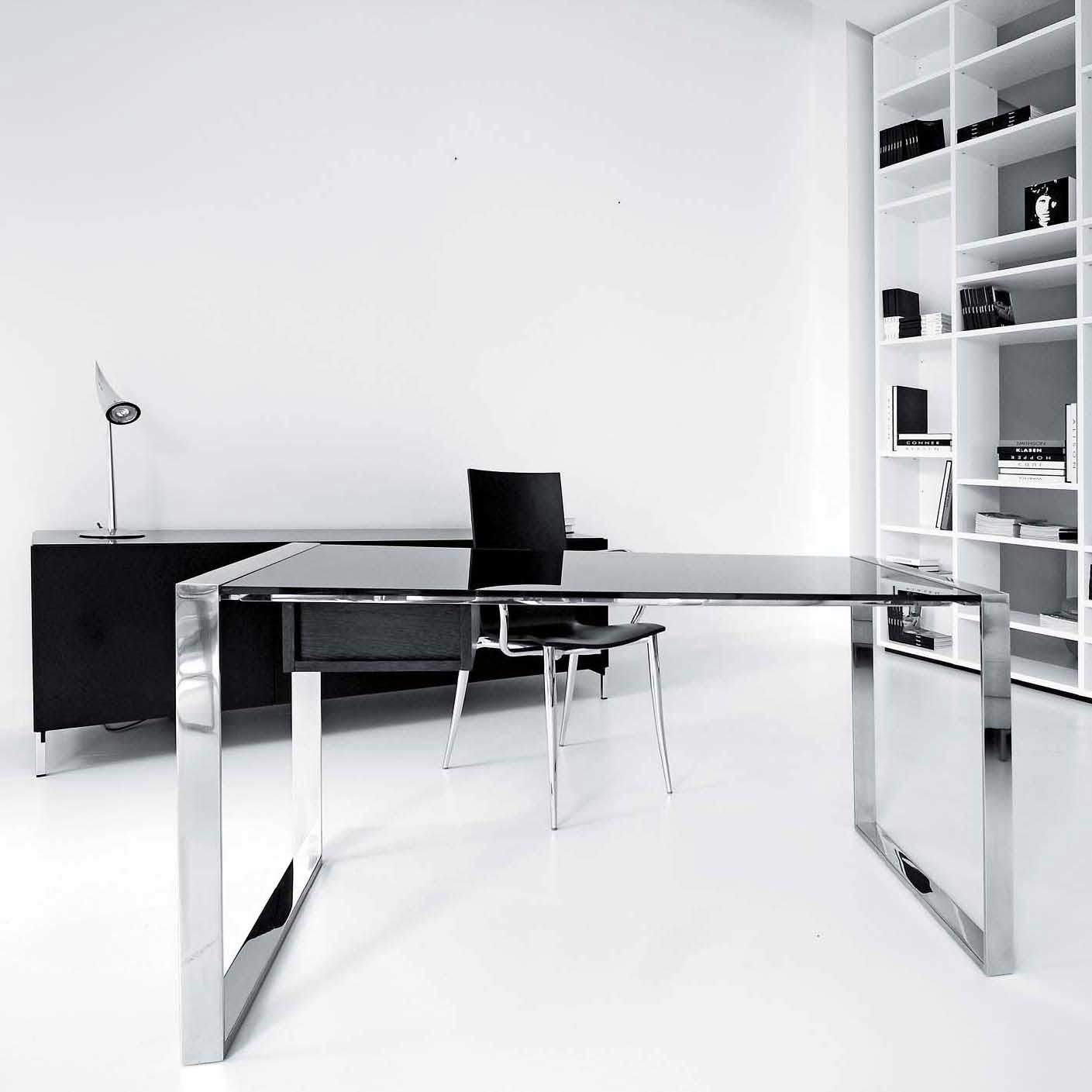 glass office computer desk with metal frame