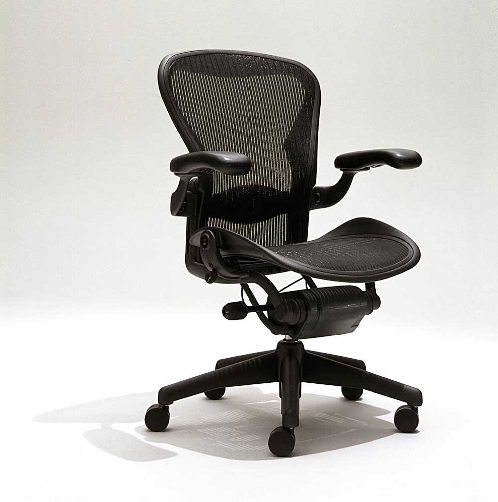 herman miller aeron black mesh task chairs