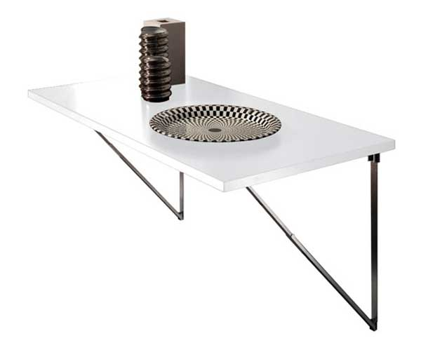 laminated white wall compact table