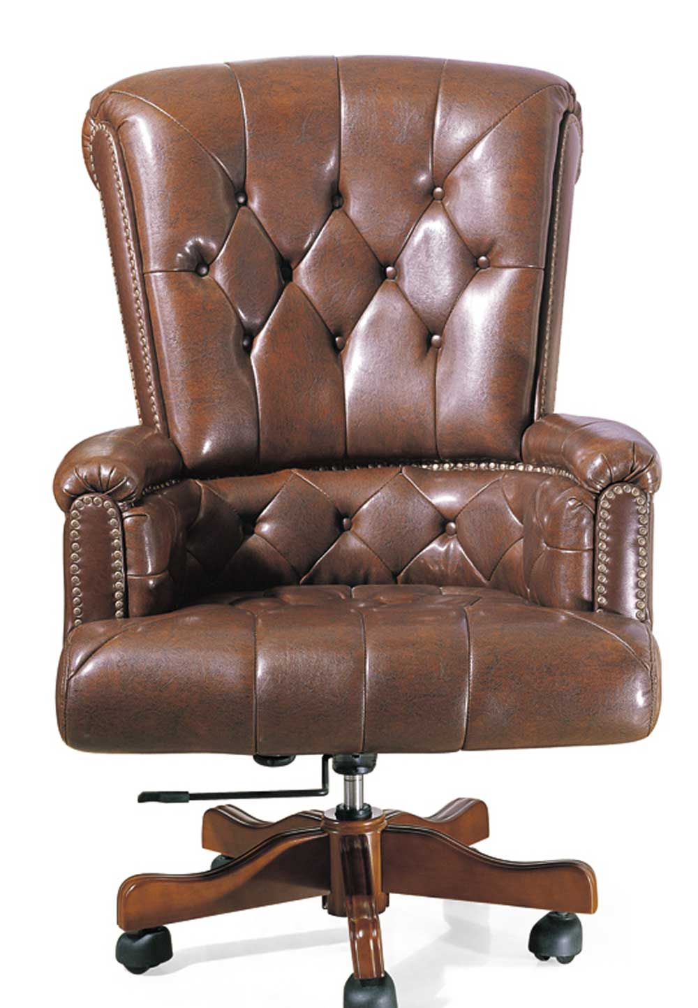 large office chairs in brown leather