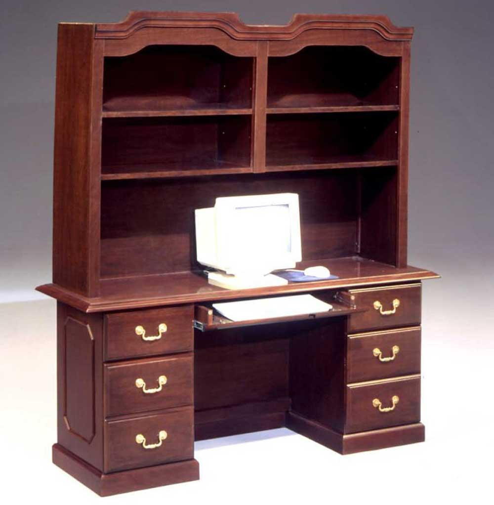 mahogany office credenza and hutch