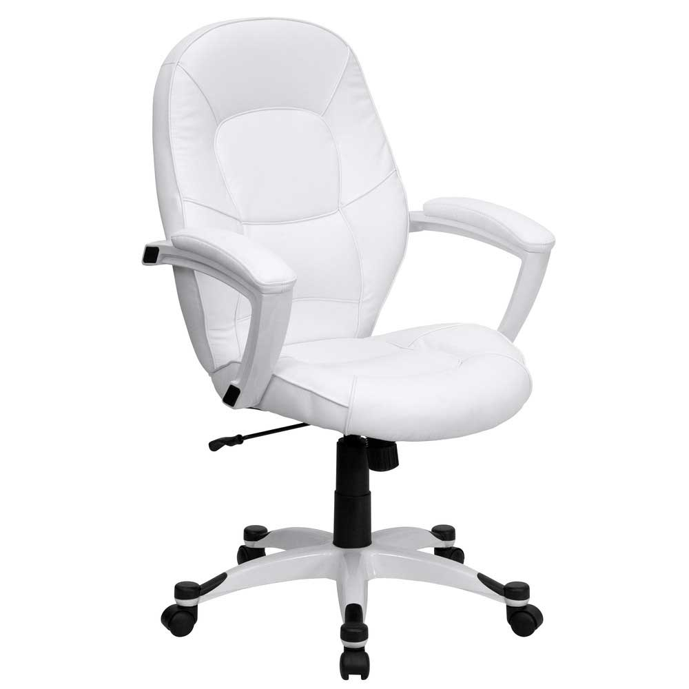 mid back white office chair for executive