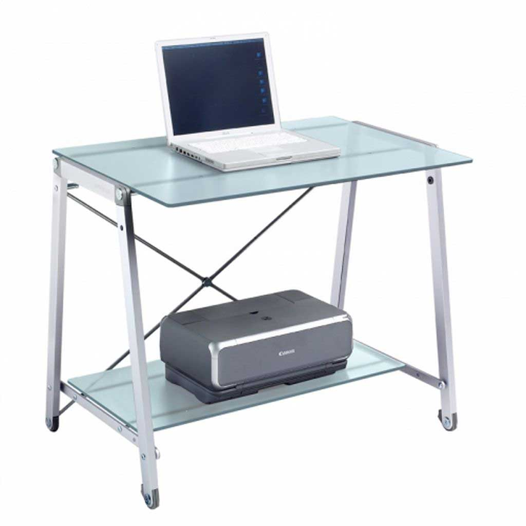 mobile tempered glass Computer desk and shelves