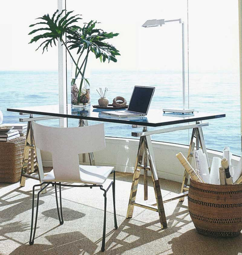 modern small glass desk and chair