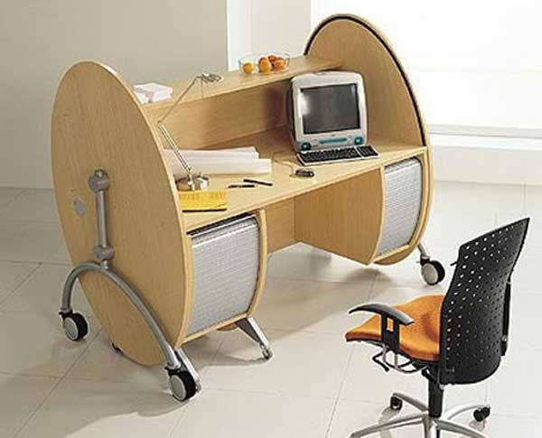 portable office rolltop computer table