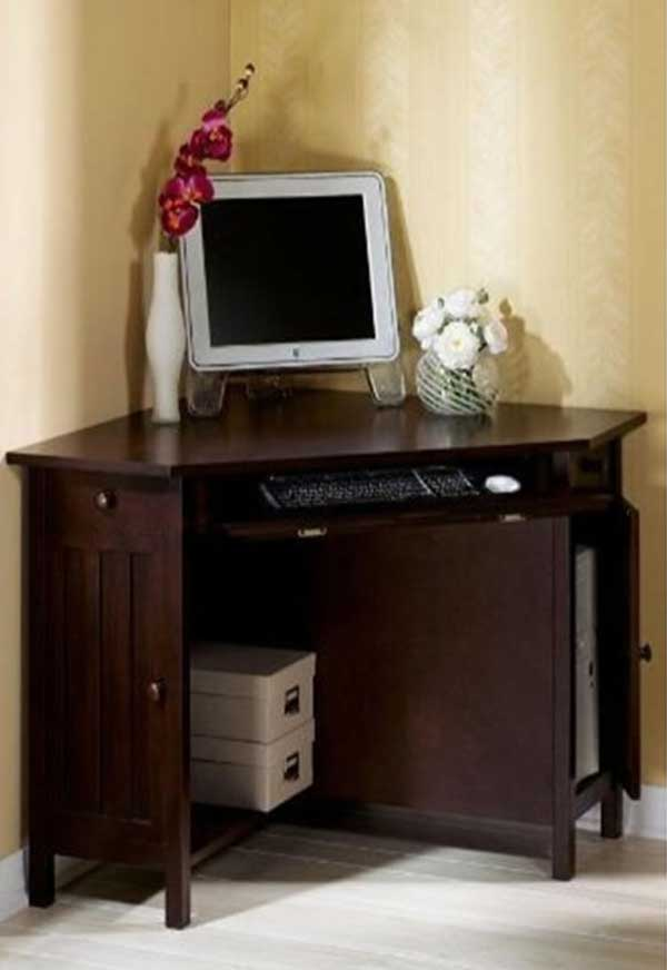 small corner oak home office computer table