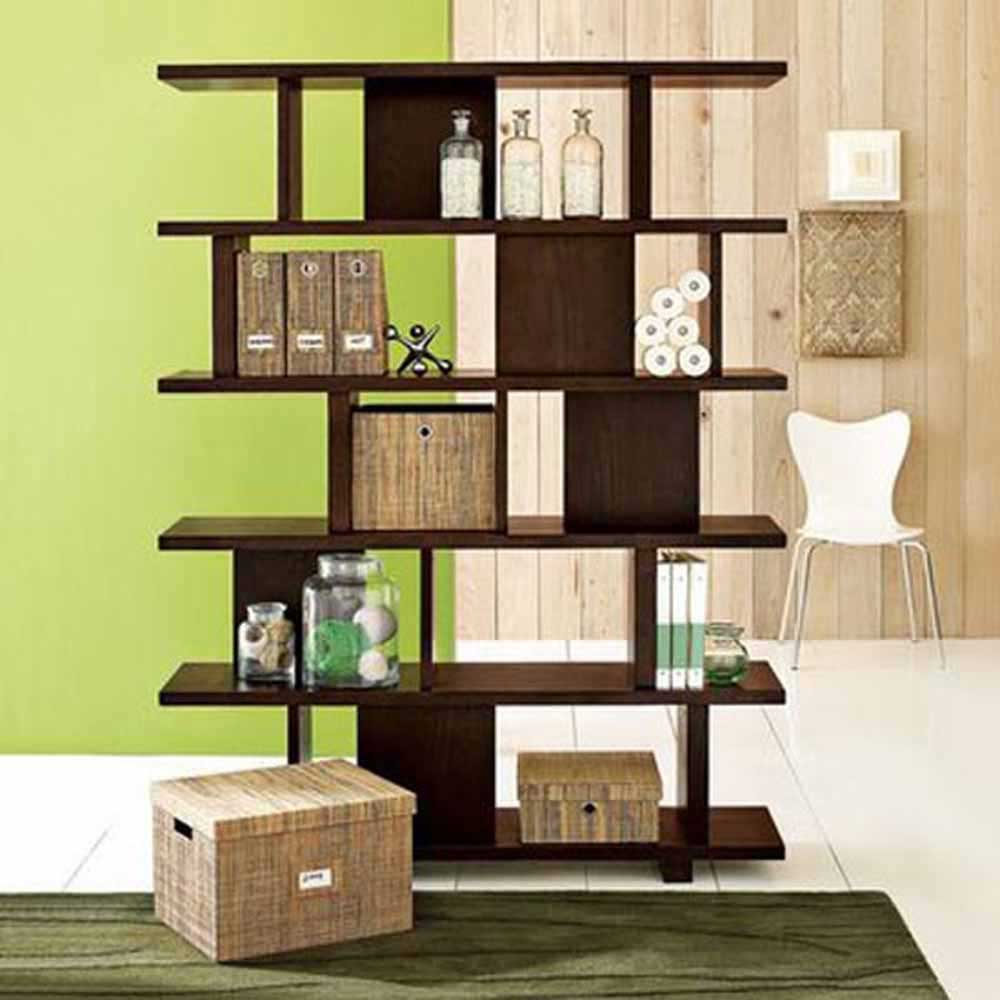 unique wooden bookshelves as wall dividers