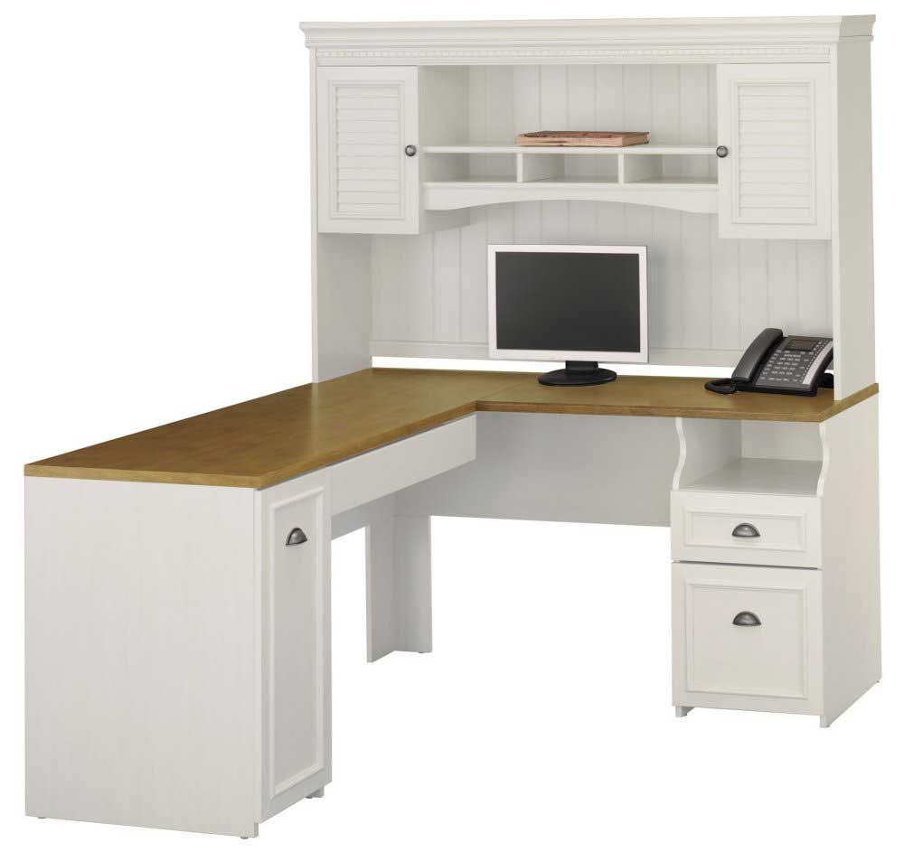 white Bush furniture corner desk with hutch