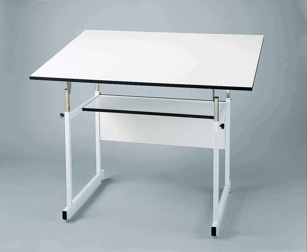 white adjustable height drawing table design