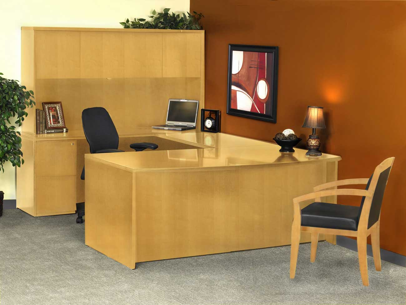 wooden discount office desk and chairs