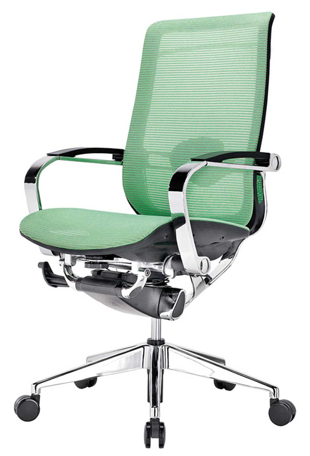 Adjustable height high back green mesh office chair