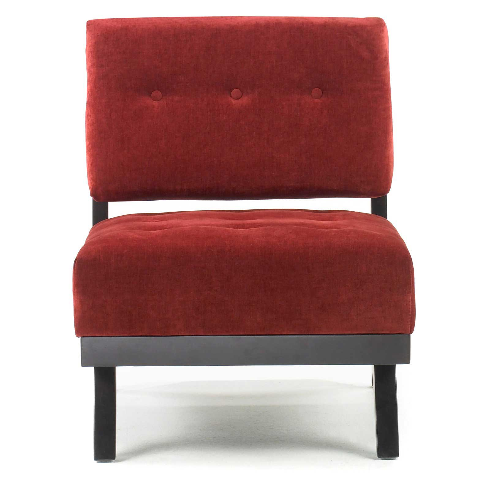 Armen Armless Red Leather Club Chair
