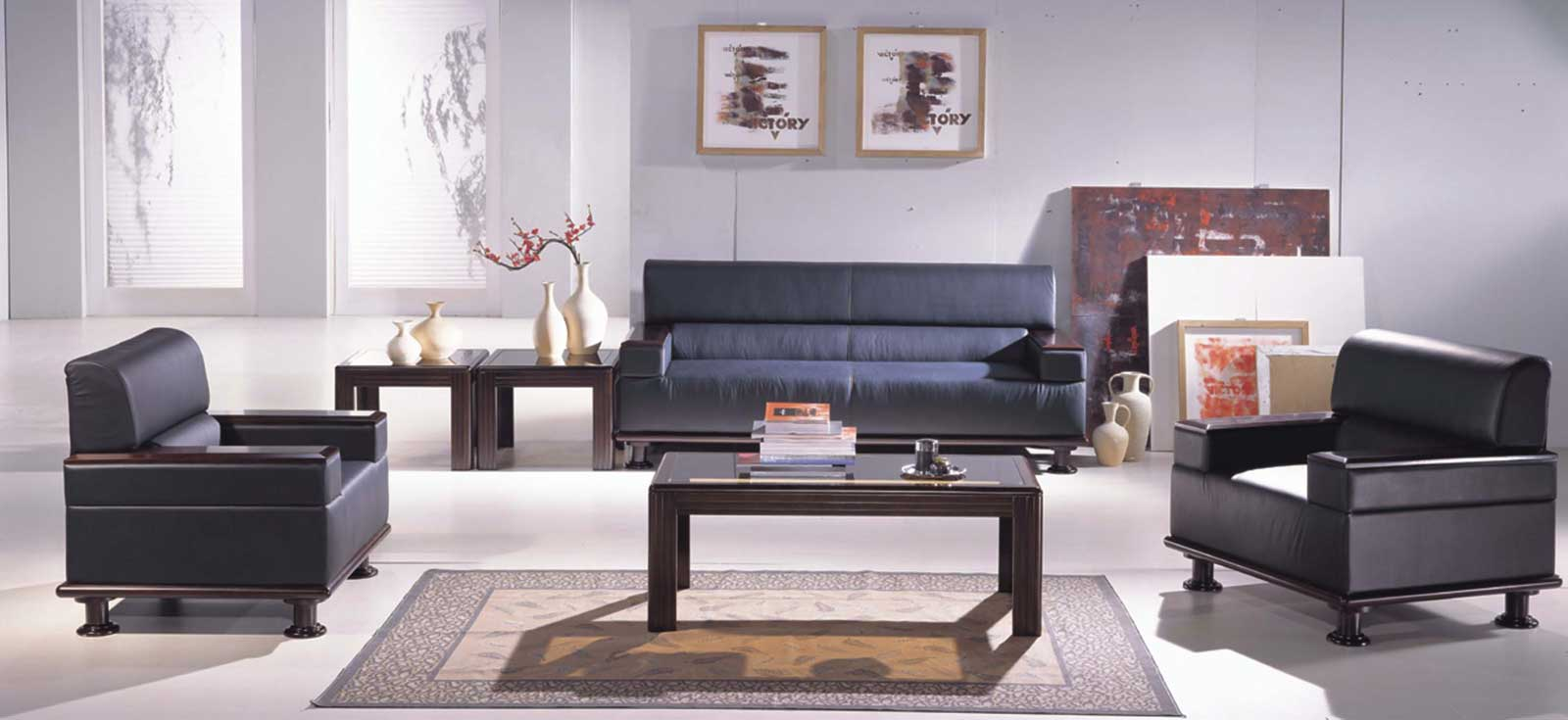 Black leather office furniture sofa style