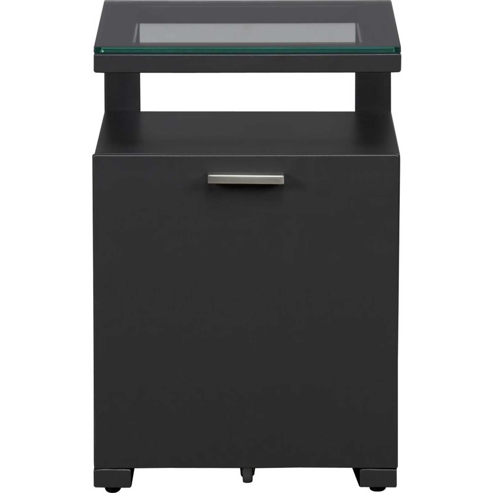 Black metal lateral document cabinet cantilevers with glass top