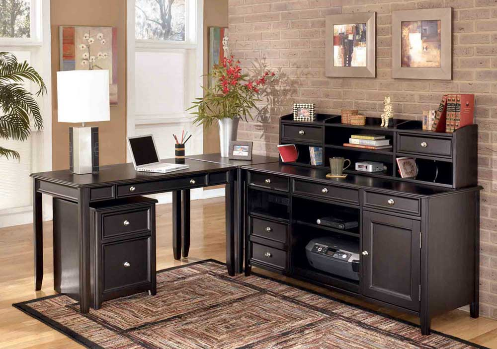 Carlyle Black Home Office Computer Desk With Filing Cabinets