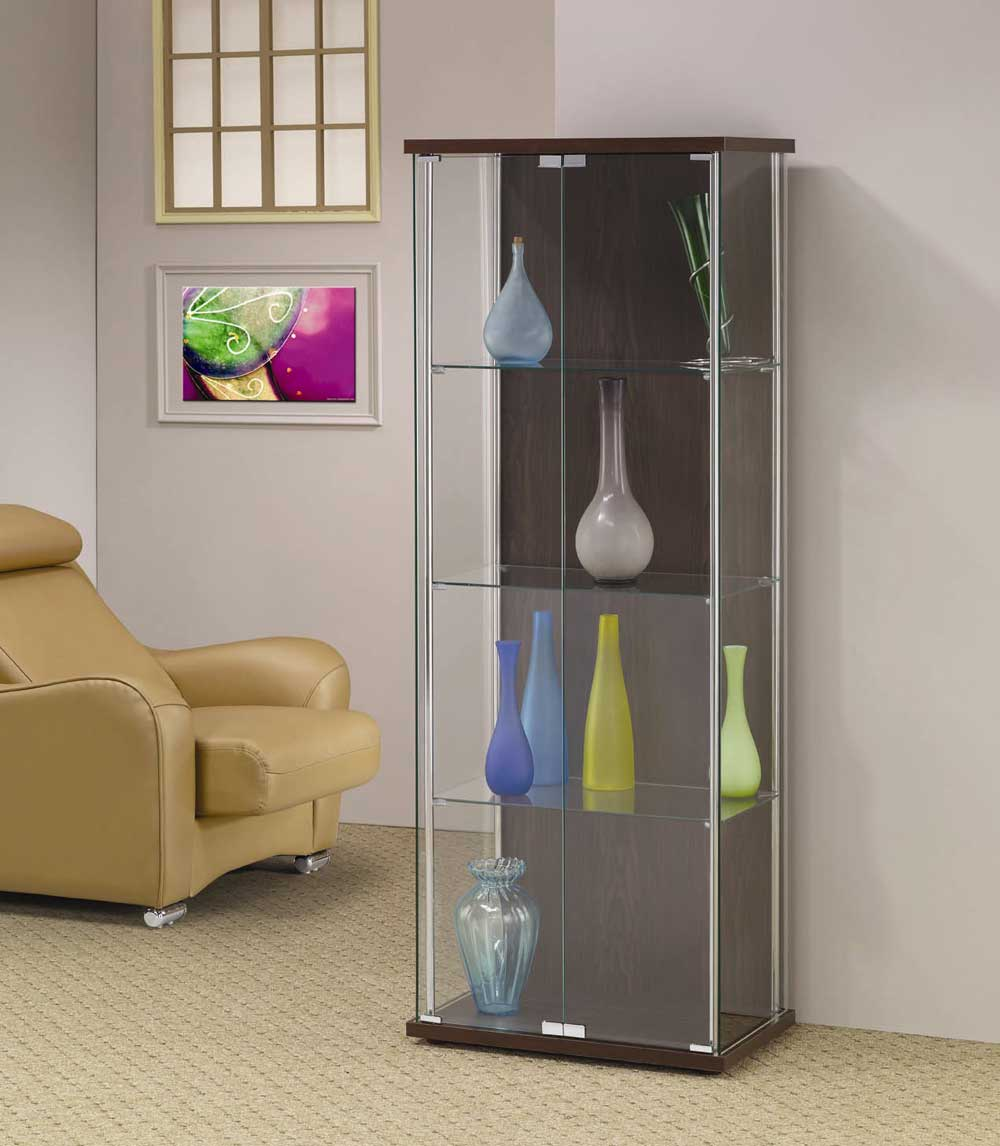 Chrome Finish Glass Curio Display Case