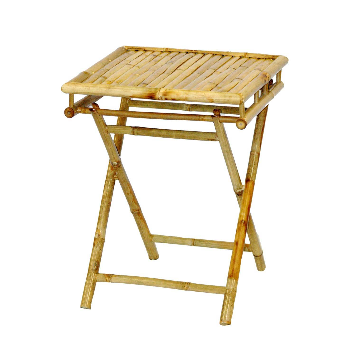 Compact Folding End Table in Natural Bamboo