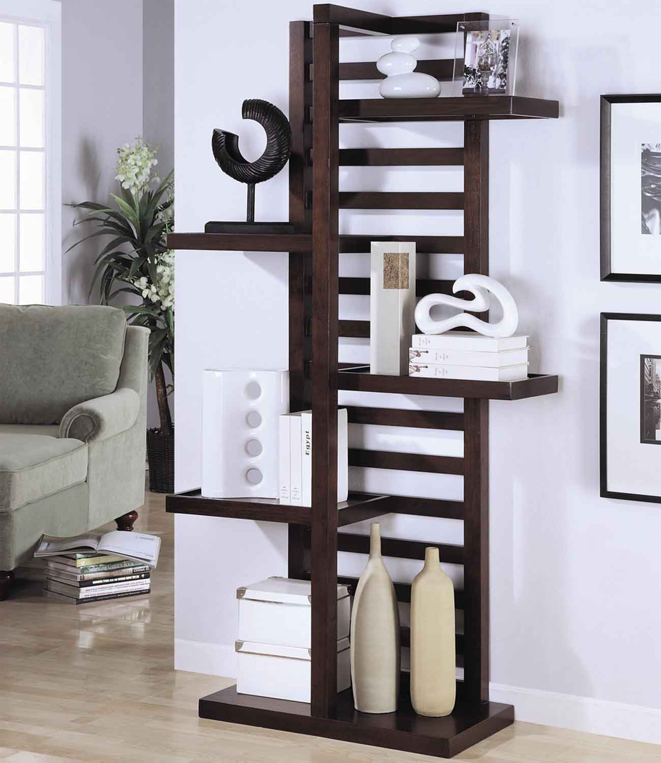 Contemporary Los Angeles Bookcases in Asymmetrical Design