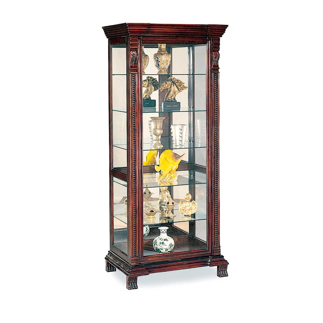 Contemporary clear glass corner curio cabinets