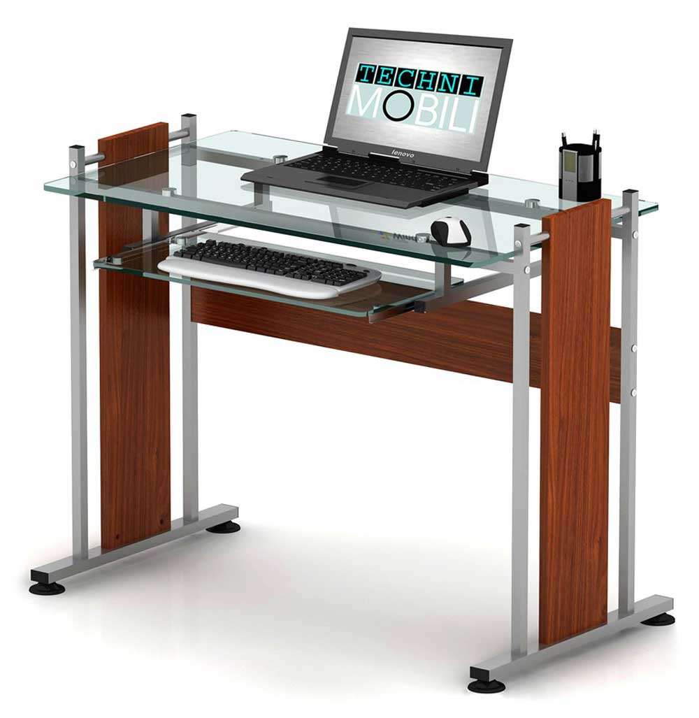 Glass top Techni Mobili mahogany office computer workstation