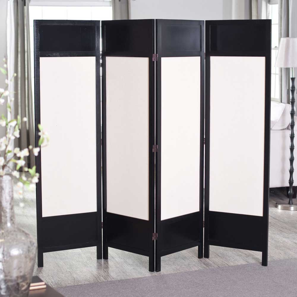 Griffin 4 Black Panel Room Separator with White Canvas