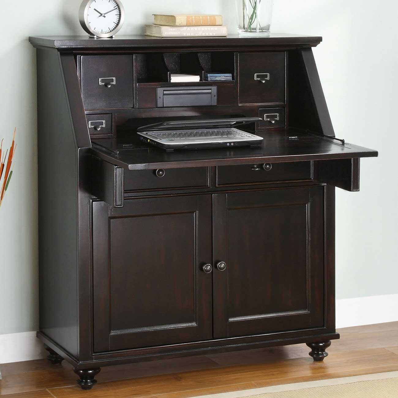 Hampton Bay Black Wood Secretary Desk in Drop Lid