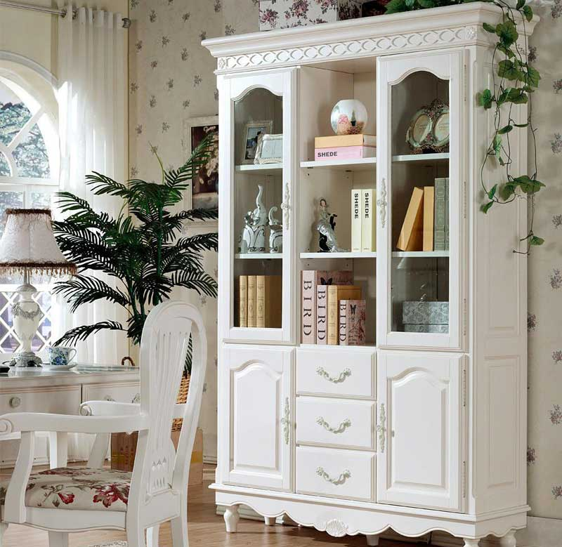 Han Phil American solid wood bookcases in white