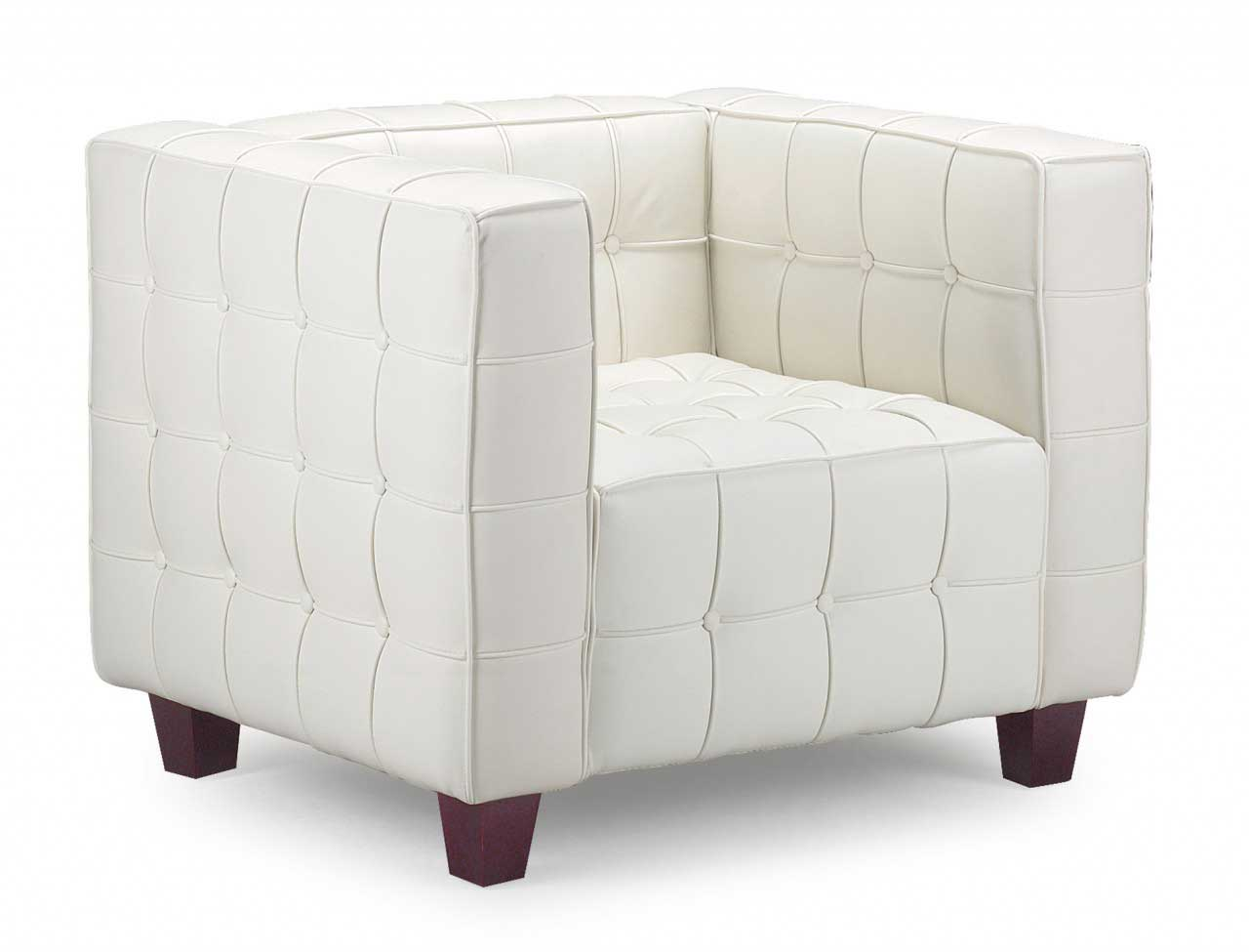 Italian modern White leather chair with arm