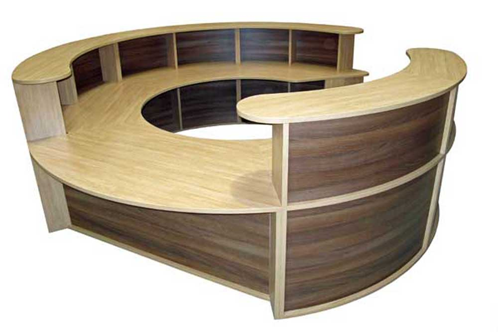 Italian round wood lobby desk furniture in curved panels