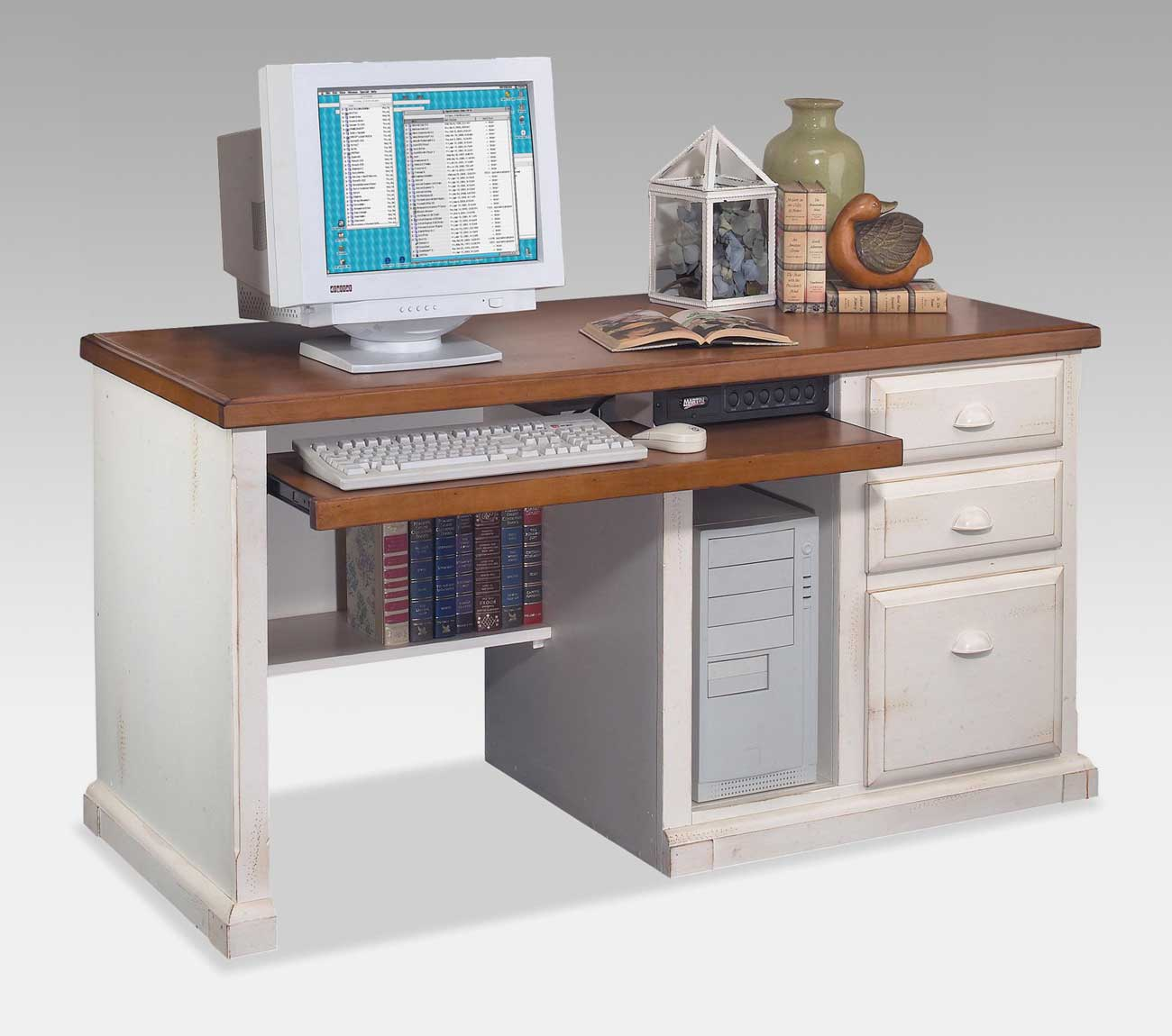 Kathy Ireland Southampton White Desktop Computer Desk with Storage