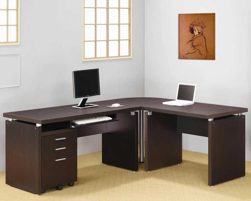 L Shaped Cappuccino Nickel Home Office Tables