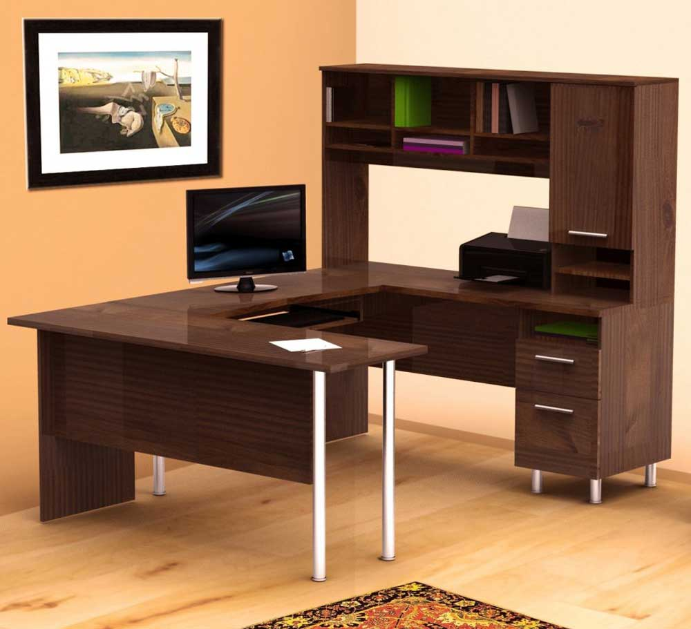 L-shaped oak home office work desk with cabinet