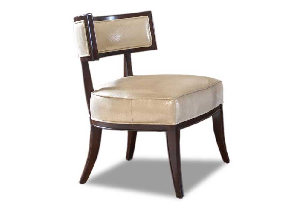 Lexington solid wood white armless leather chair