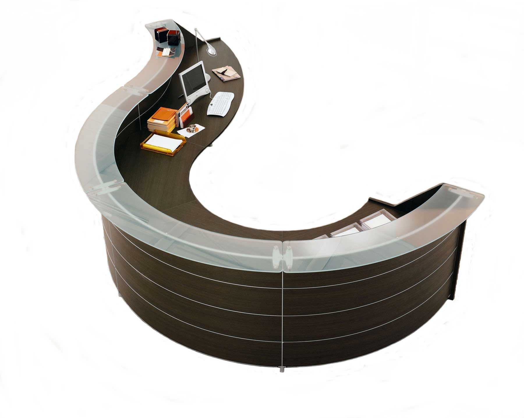 Luna wenge office reception desk in circular design