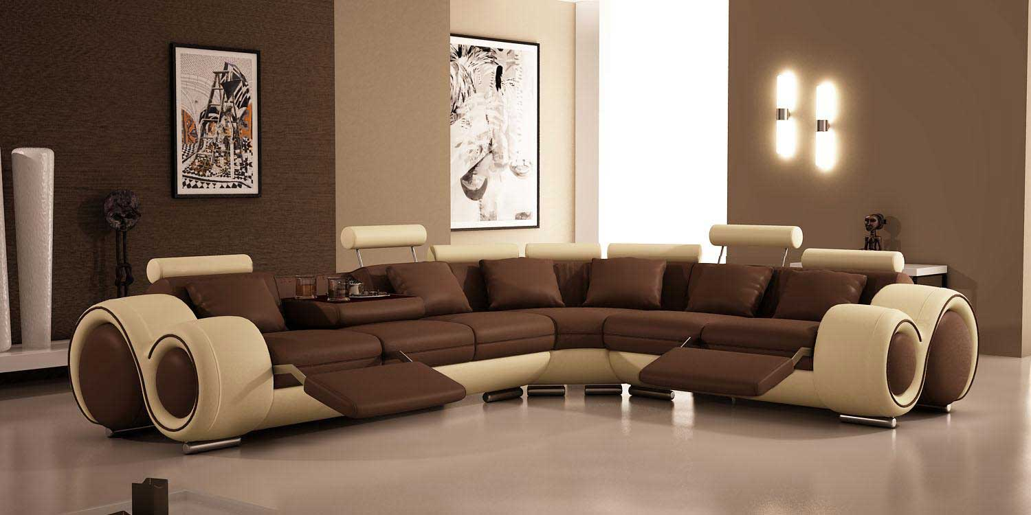 Luxury brown white recliner sofa furniture for home office