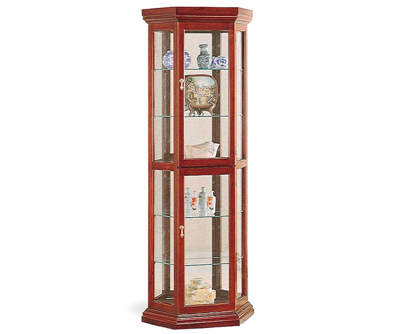 Mirrored glass solid cherry curio display cabinets