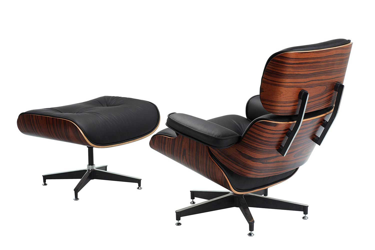 Modern leather office chair with solid wood base