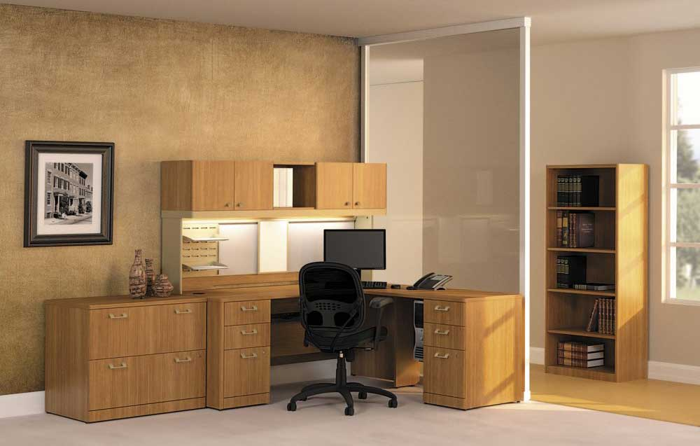 Modular modern office furniture collections in cherry
