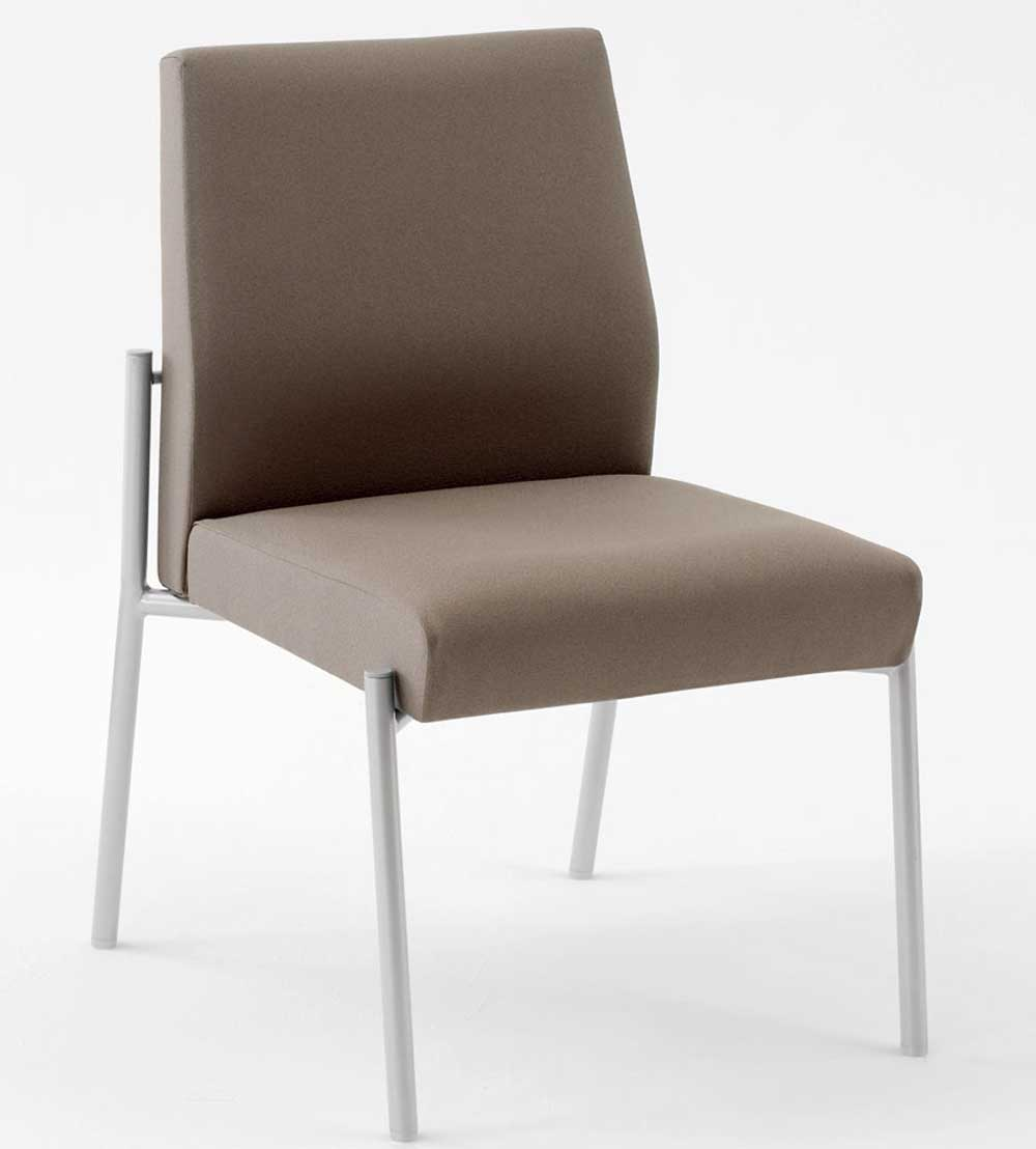 Mystic Armless Brown Leather Guest Chair with Tapered Back