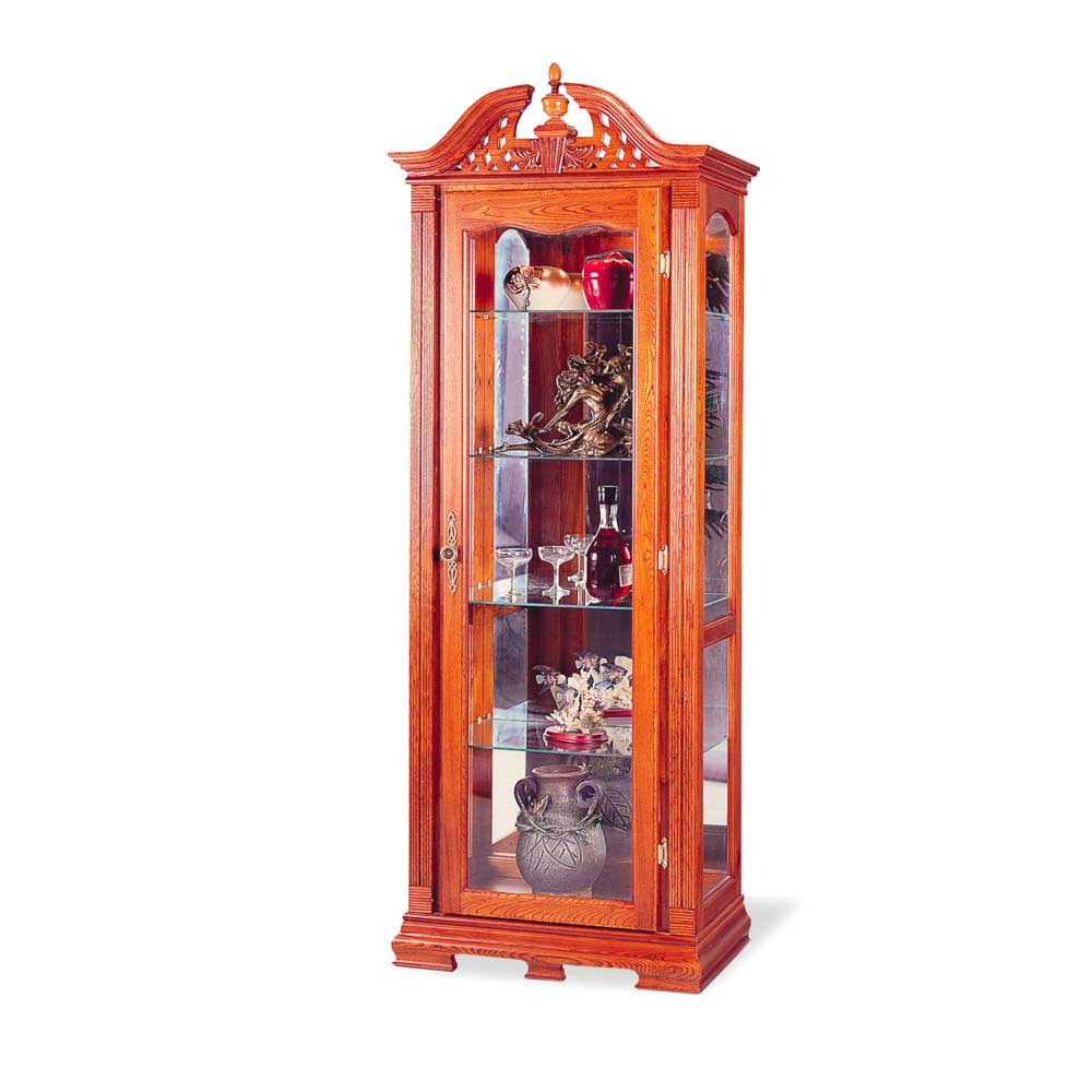 Oak Modern Ornate Woodcarved Curio Cabinets