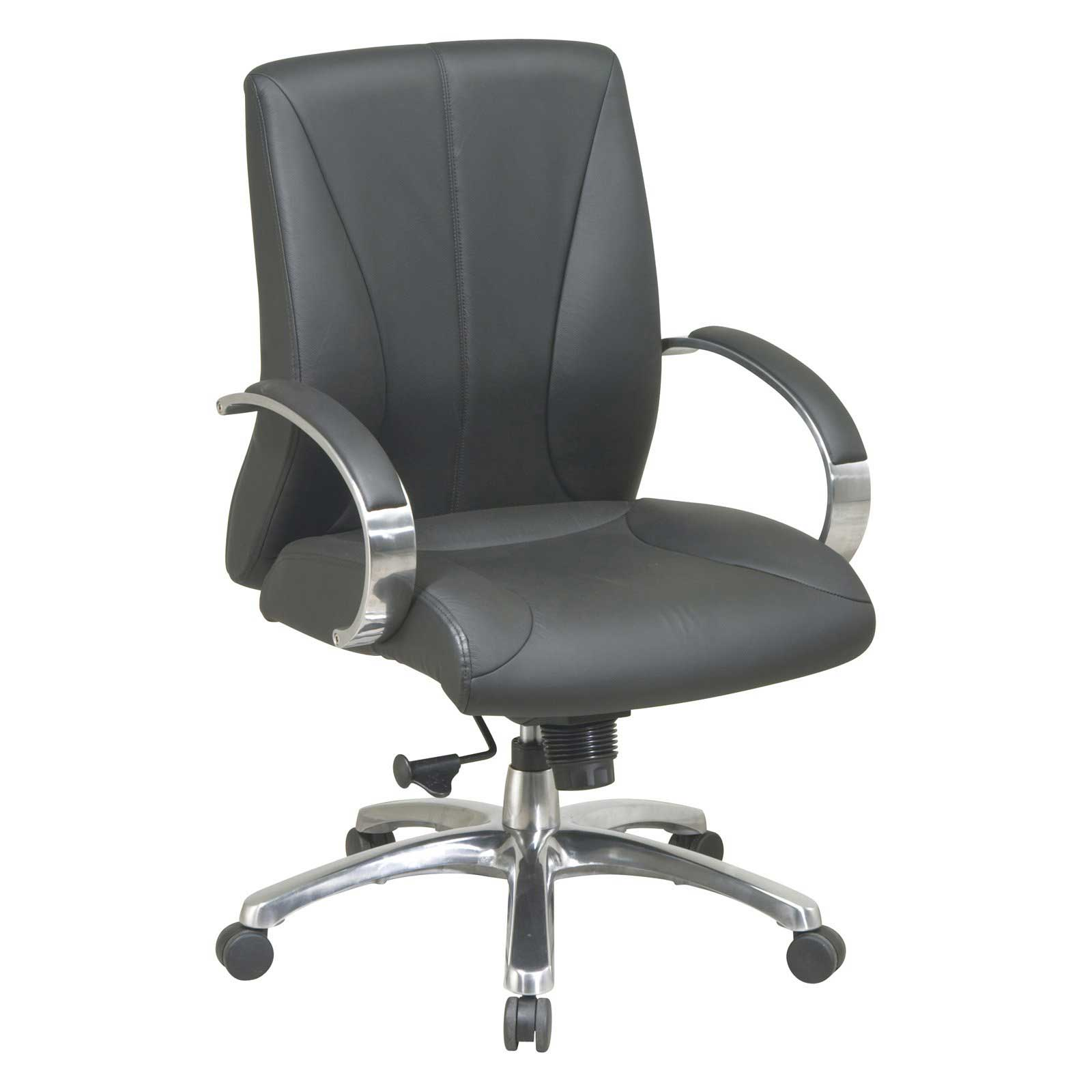 Office Star Aluminum Arm Mid Back Executive Leather Chair