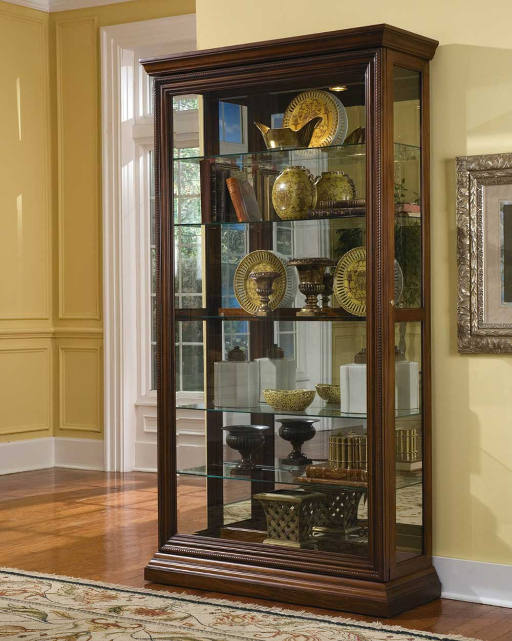 Pulaski Cherry Edwardian Curio Cabinets with Two Way Sliding Door