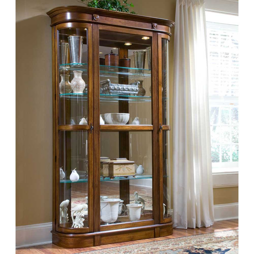 Pulaski pecan curio glass display cabinets