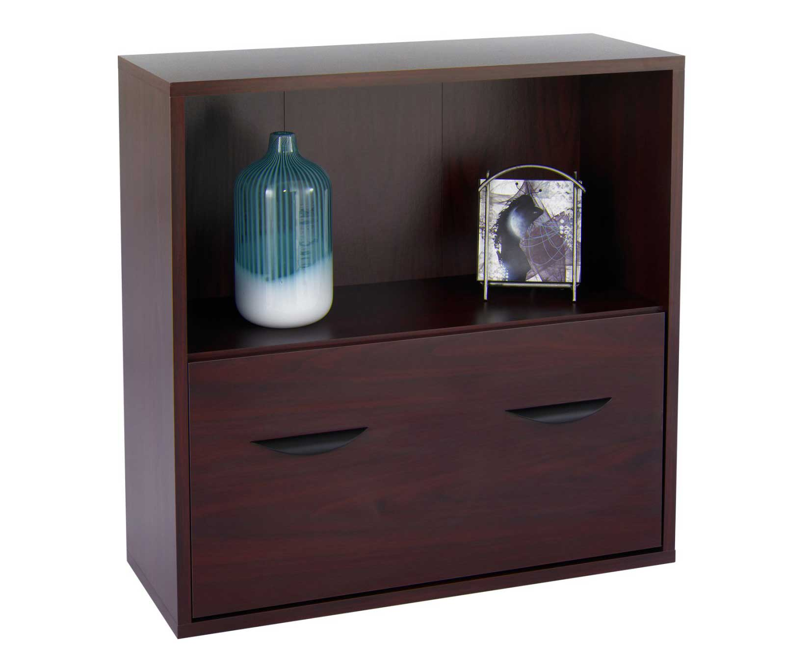 Safco Mahogany Horizontal File Cabinets with Top Bookshelf