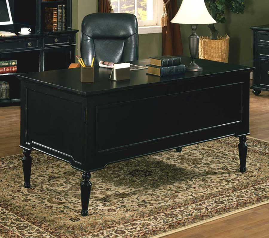 Solid wood cheap executive desk in black