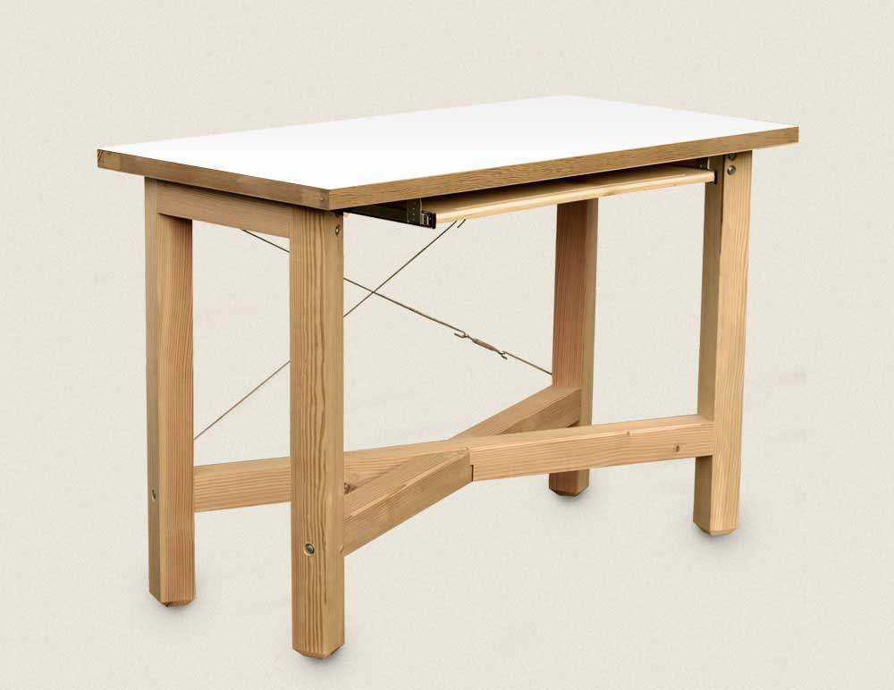Solid wood top white standing laptop desk