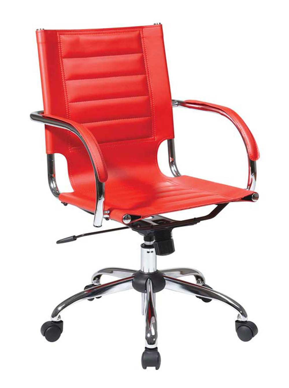 Stylish adjustable height red leather office chair