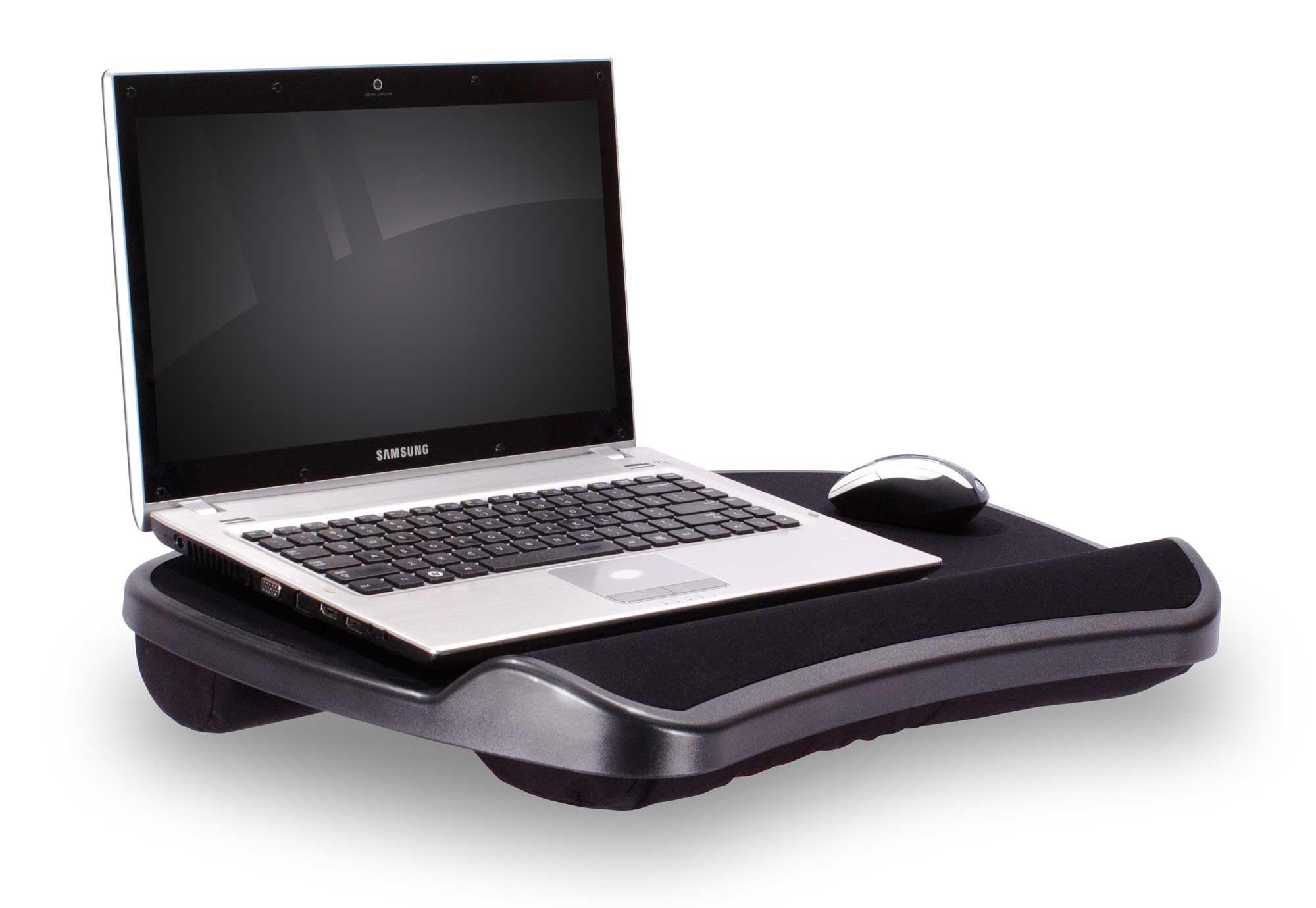 Stylish deluxe lapdesk for laptop in solid black