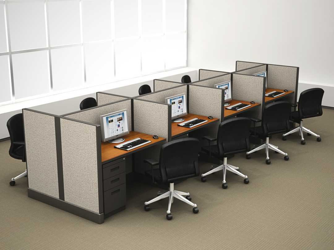 Telemarketing office cubicle systems with storage